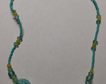 Blue and green ball bead necklace