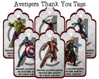 Avengers Thank You Tags Avengers Birthday Thank You Tags Avengers Party Avengers Iron Man Captain America Printable Instant Download
