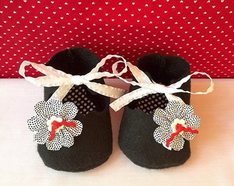 Black Felt Mary Jane Shoes for Dolls
