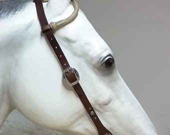 Headstall - One Ear Rawhide on Medium Brown Bridle Leather