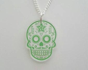 Sugar skull plastic acrylic pendant necklace Green