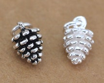 Charms, Sterling Silver Pinecone Charms, Plant, Pinecone Pendants, Jewelry Findings, DIY supplies, 6.8*10.6mm, 5pcs