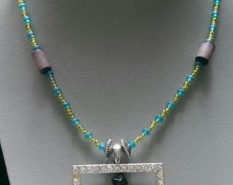 Square Rhinestone Beaded Necklace