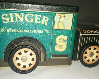 Vintage Singer 2 part Tin