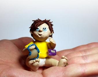 Diabetic Gifts -Mini Polymer Clay Chibi Figurine-T1D Type 1 Diabetic (Type One Diabetes Mellitus) Boy w/ Insulin Pump-Diabetic Doll