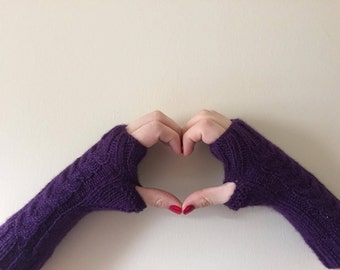 "Purple ""/ Fingerless Gloves/ Women Gloves/ Gifts For Valentine's Day / Winter Accessories/ Gifts for women"