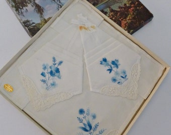 Boxed set of 3 vintage cotton embroidered handkerchiefs made in Switzerland