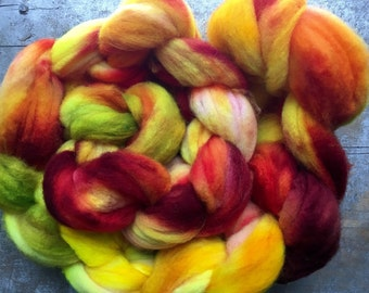 Orchard Fire hand dyed superwash merino roving