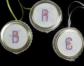 Cross Stitch Ballerina Initial Letter Ornament A B or C