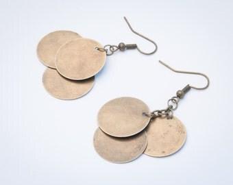 Bronze Dangled Earring, Coin Earrings, Fun Jewelry, Metal Earrings, Gift Idea