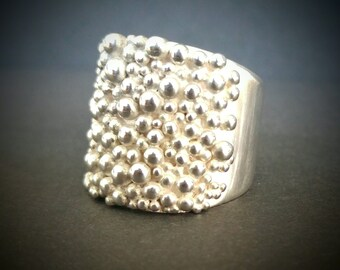 Tapered Sterling Silver Multi Bobble Ring