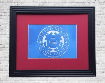 US Coast Guard Gift - Handcut Emblem - Coastie Wife -  Coast Guard Art,  USCG Gift, USCG Decor, Armed Forces Modern Wall Art - 8 x 10