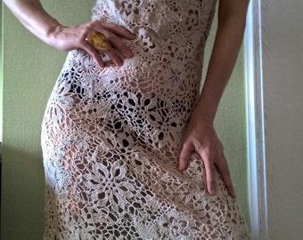 Dress knit, crochet, Irish lace Irish crochet.