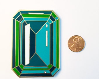 Large 3 INCH Emerald enamel lapel pin