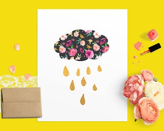 Cloud and Raindrop Nursery Printable Wall Art Print, Floral and Gold Raining Cloud, Floral Nursery Decor, Cloud and Rain Wall Art