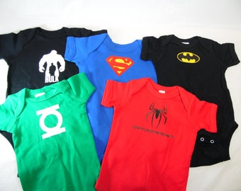 SuperHero Baby Infant Onesies Batman, Spiderman, Superman, Hulk, Flash & Green Lantern Super Hero