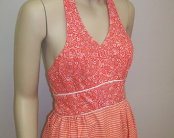 1970's orange and white cotton maxi halter dress XS