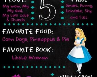 SALE!! Alice in Wonderland chalkboard poster