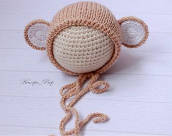 Baby Monkey Hat, Newborn Knit Hat, Knit Monkey Hat, Baby Boy Photo Prop, Baby Girl Photo Prop, Monkey, Photo prop monkey