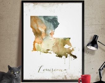 Louisiana Map Print Wall Art Print, Louisiana Art, Louisiana State Print Map Poster, Louisiana Decor, Louisiana Print (288)