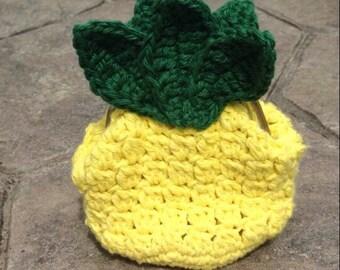 Pineapple change purse, Crochet change purse, luau party, Pineapple, Yellow coin purse, Pineapple bag, Fruit theme, Summer fashion week