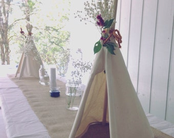 Birthday teepee, camping, boho themed party decor, coachella, tribal baby shower, teepee decoration, canvas mini teepee, small teepee