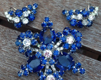 Juliana D&E Royal Blue and Clear Rhinestone Flower Brooch and Earrings