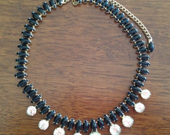 Vintage Black and Clear Rhinestone Necklace 0380