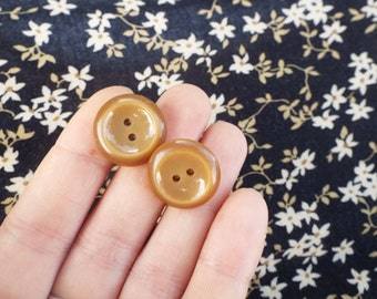 Caramel Color Button Earrings