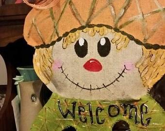 Burlap scarecrow door hanger