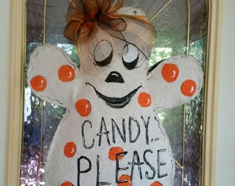 Candy Please Burlap door hanger