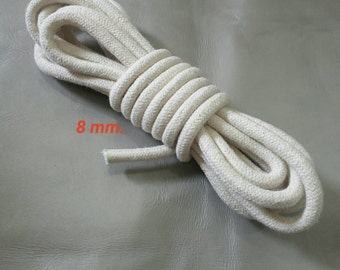 Cotton Rope, 8 mm. Diameter, 5 Yards (4.5 Meters Long), Natural Cotton Rope, Natural Cotton Cord, Natural Braided Rope, DIY Rope Decoration.