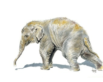 Baby Elephant Print from my Elephant Painting titled 'Forget me Not '