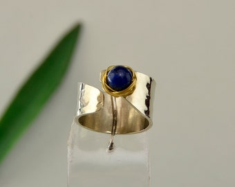 Lapis lazuli ring, pinky ring, little finger ring, alpaca woman ring, hammered band, silver tone ring, navy stone ring, women gift under 25.