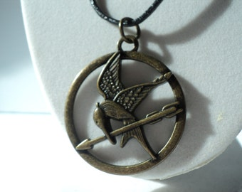 Vintage, Katniss Everdeen, The Girl on Fire, Mocking Jay, Revoultion Fire Bird, Chapter Book, Charm, 30cm, Necklace