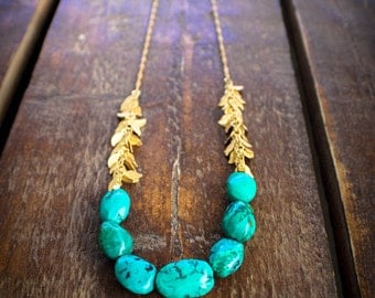 Turquoise and gold necklace, Statement Necklace, Leafy Beaded Necklace, Long Bead Necklace