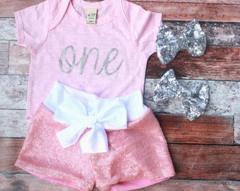 Pink birthday outfit, silver sequin shorts, pink and silver, girls first birthday outfit,