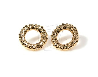 ERG-134-G/2Pcs/20mmX20mm/Round Dots Stud Earrings/Cute Round Earrings/Plated Over Brass