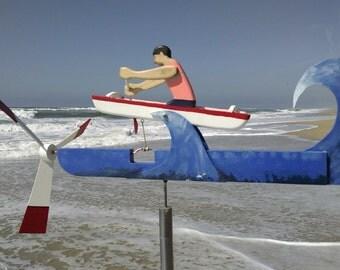 Outrigger canoe whirligig