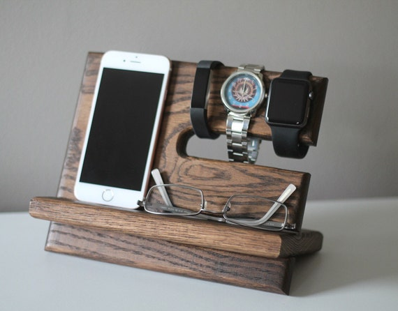 Night Stand Oak Wood Valet |iPhone Galaxy Charging Stand |Nightstand Dock | Graduation Father's Day Birthday For Him| Fitbit Jawbone