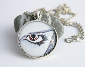 necklace ...pokerface... hand drawn, Cabochon, antique silver