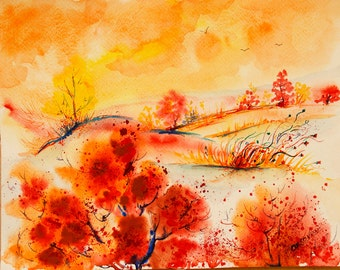 Landscape painting Original painting Colorful autumn painting Original watercolor landscape painting original art Autumn Nature painting art