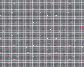 Lovebug Grid Heart Gray Grey Cotton Fabric from Lovebugs Collection by Doodlebug Designs for Riley Blake Designs per FQ per metre
