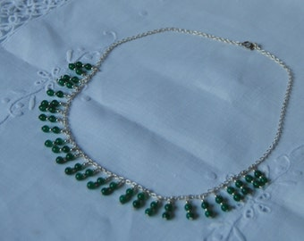 necklace, 925 sterling silver, green onyx beads, made in Italy