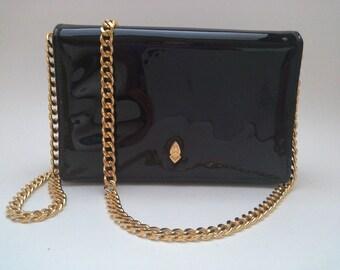 Black Patent Koret Bag, Vintage Patent Purse, Black Patent Purse, Chain Strap Purse, Koret Purse, Small Black Patent Bag, Gold Chain Strap