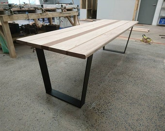 Mixed Timber Table on Steel Legs