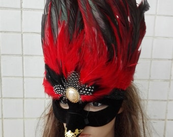 Feather masquerade party mask #MA16003