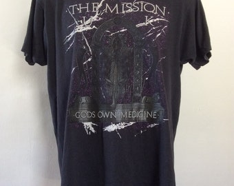 Vtg 1987 The Mission UK Concert T-Shirt Black L/XL 80s Screen Stars Goth Gothic Rock U.K.