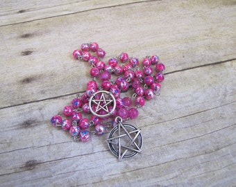Large Pink Double Pentacle Rosary