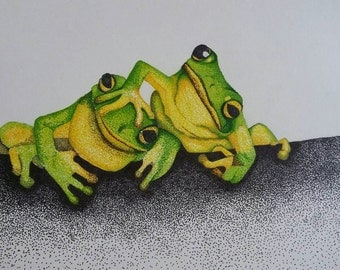 Pointillism frogs print